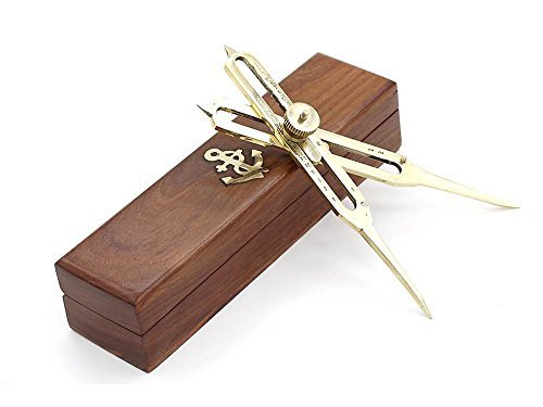 Nautical Brass Proportional Divider 6'' Survey Drafting Artist Tools with Wooden Box Free