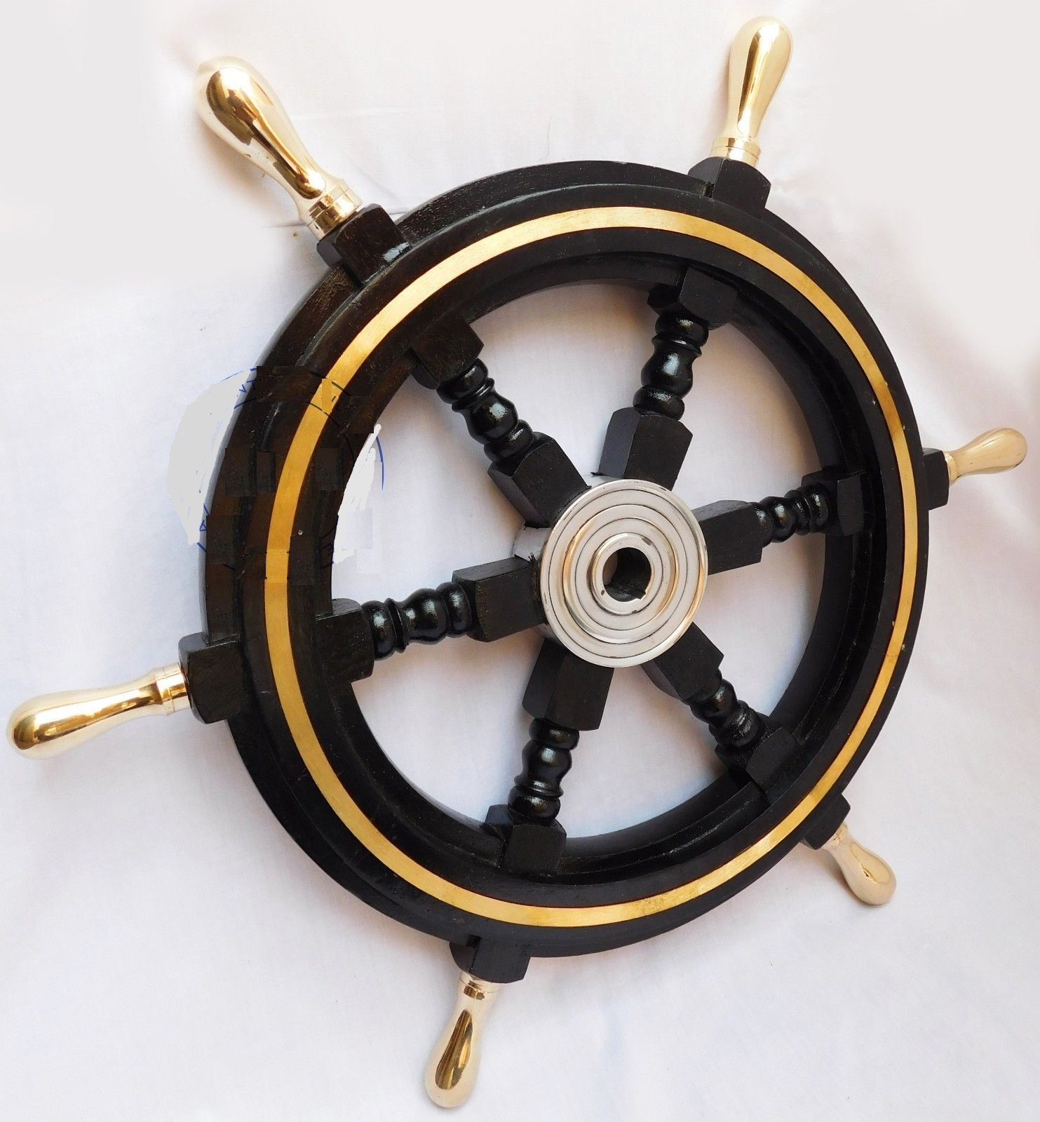 Nautical Boat Ship Wheel Black Wooden