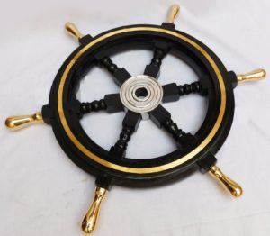 Nautical Boat Ship Wheel Black Wooden Collectible Steering Home Decor 18 Inches