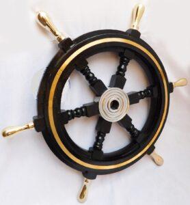 "24"" Boat Ship Large Wooden Steering Wheel Nautical Wall Decor,"