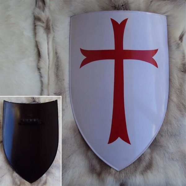 Medieval Crusader Red Cross Shield, Suitable For Re-enactment, Stage Or Costume