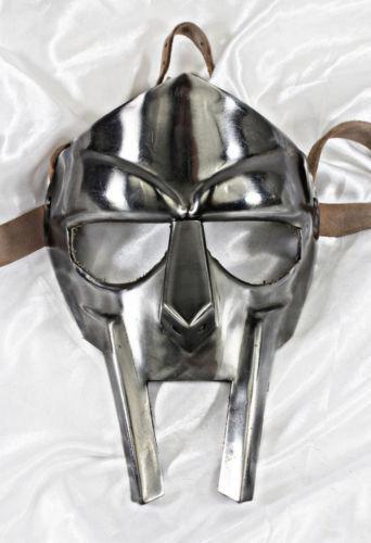 Medieval Steel Gladiator Face Mask Helmet Armor Chrome Finishing