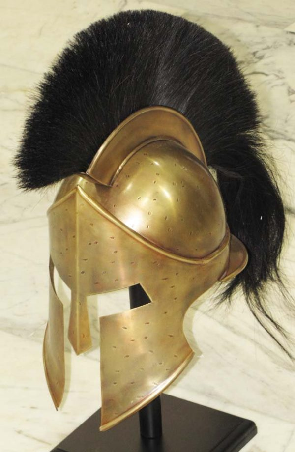 300 Spartan Antique Movie Replica Helmet Armor Black Plume Free Knight Adult Costume