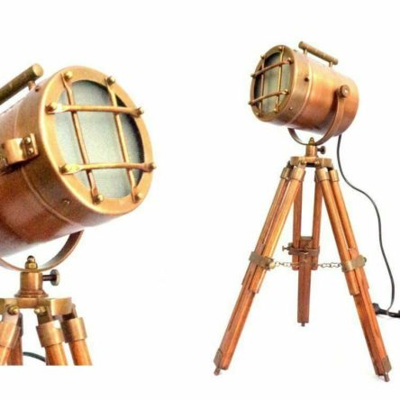 Collectibles Nautical Spot Light Table Lamp Brown Tripod Stand Home Decor