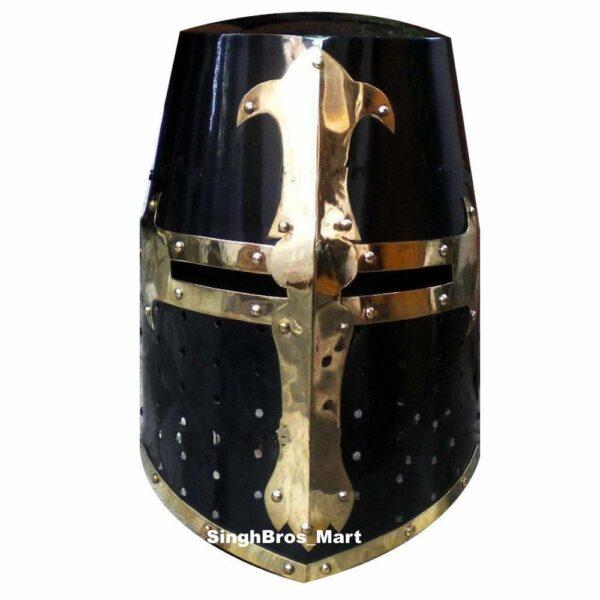 Armor Medieval,Knight Crusader, Templar Helmet Black