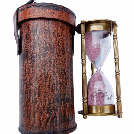 Antique Decorative Brass Sand Timer with Safety Leather