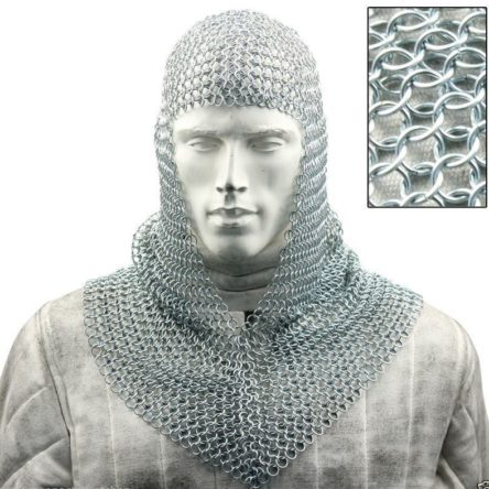 Aluminum CHAIN MAIL COIF/ CHAIN MAIL HOOD V SHAPE