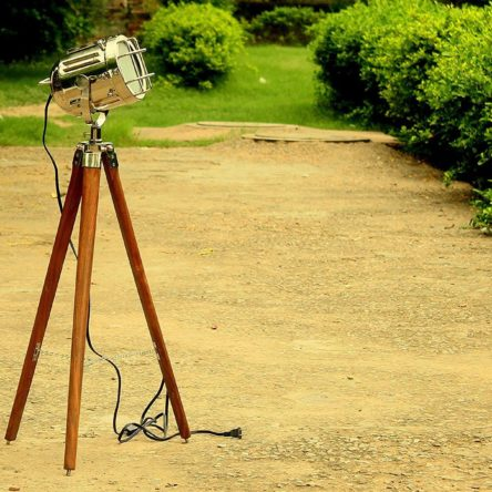 Vintage Nautical Floor Lamp Spotlight  Wooden Tripod Home & office Decor