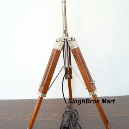 Collectibles Nautical LED Table Lamp & Brown Tripod Stand Home Decor