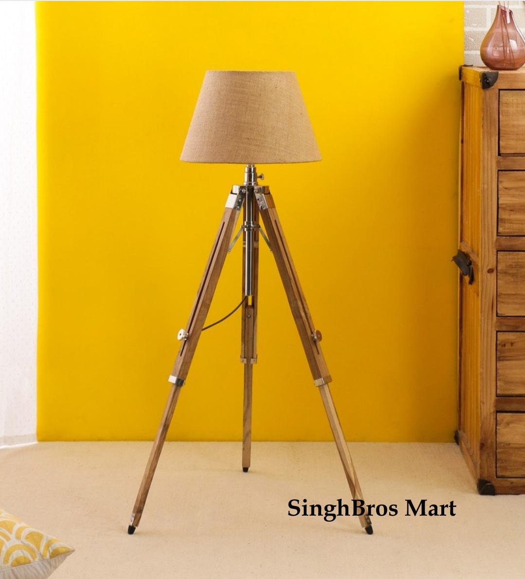 best service 3b71f 02731 Nautical Floor Lamp Wooden Tripod Lighting Stand Shade Fixture Home  Decorative