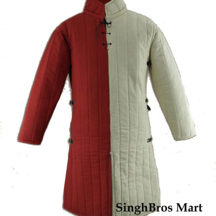 Gambeson Medieval Armor Padding – Large White & Red