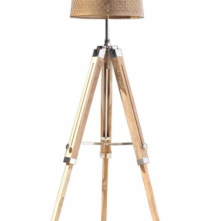Nautical Teak Wood Floor Lamp & Tripod Stand Home Decor