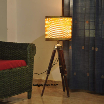 Decorative Natural Brown Floor Lamp & Tripod Stand