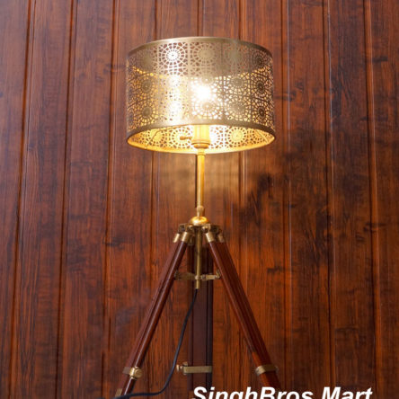 Collectable Vintage Tripod Table Lamp & Industrial Nautical Lamp Shade