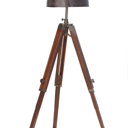 Nautical Studio Brown Wooden Tripod & Floor lamp