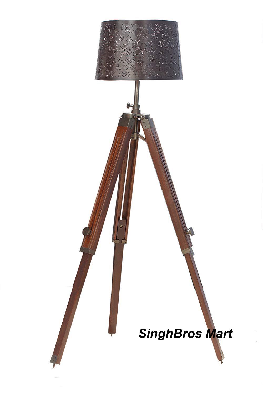 Nautical Studio Brown Wooden Tripod Floor Lamp