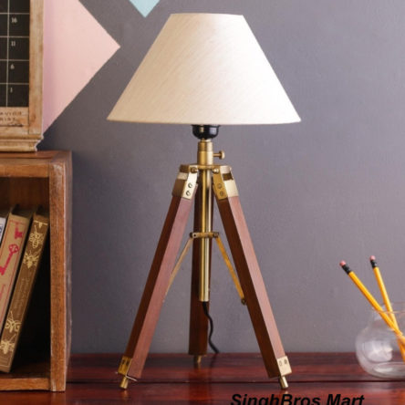Decorative Antique Natural Brown Tripod Stand & Floor Lamp