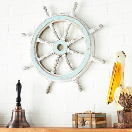 Nautical Decor Wood Ship Wheel – White – Singhbrosmart